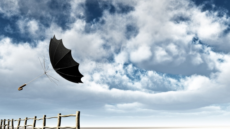 sky_needles_fence_flying_umbrella_clouds_wind_81969_3840x2160